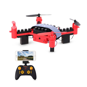 Flytec T11S DIY Building Blocks Drone with 0.3M Camera Mini Drone RTF Educational Toy Red